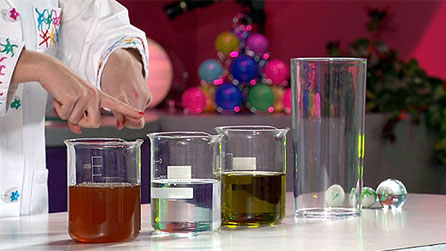 Beakers containing different liquids