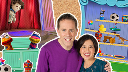 Chris and Pui in front of the clonky wonky shelf