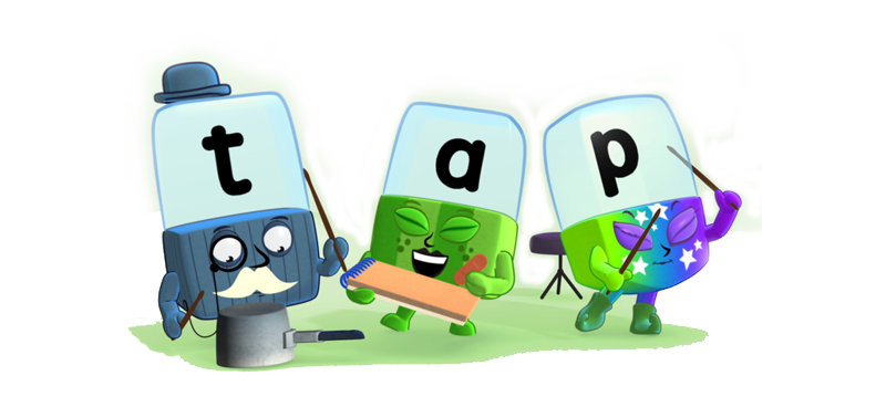 Alphablocks t, a and p spelling out the word 'tap'.