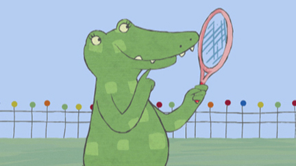 Doodles holding a tennis racket
