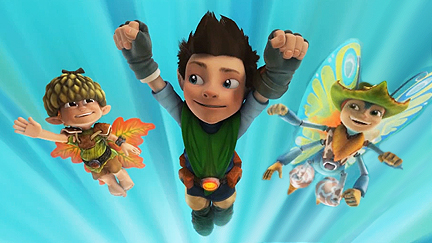 Twigs, Tree Fu Tom and Ariela flying.