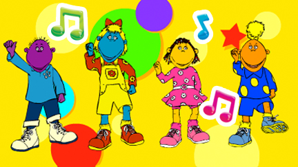 The Tweenies surrounded by music notes.