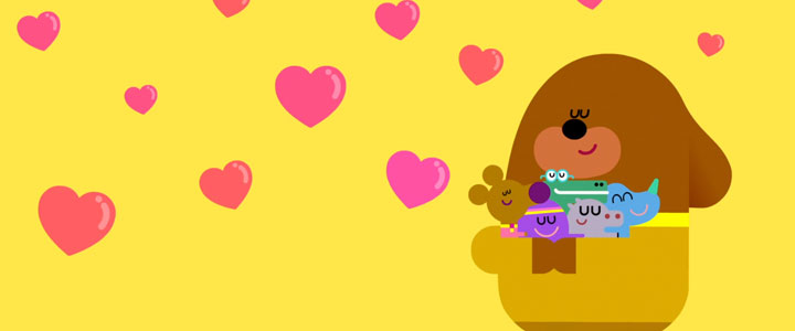Duggee hugging the squirrels.