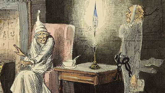 Scrooge and Marley illustrated by John Leech, from the 1843 first edition.