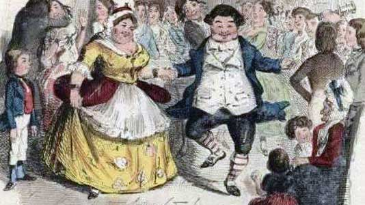 Mr and Mrs Fezziwig, illustrated by John Leech from the 1843 first edition.