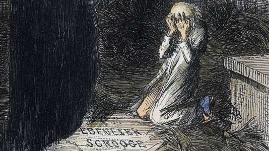 Scrooge shown his own tombstone, illustrated by John Leech from the 1843 first edition.