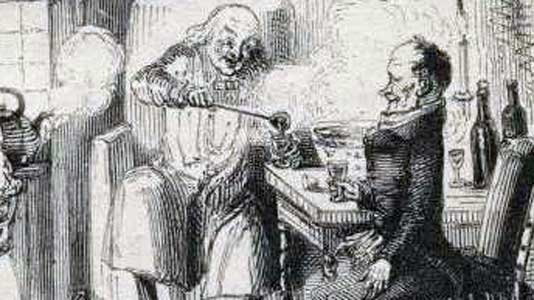 Scrooge and Bob Cratchit, illustrated by John Leech from the 1843 first edition.