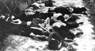 Massacred bodies of women and children