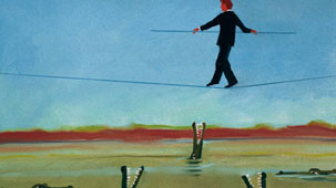Cartoon of man walking tightrope over river full of snapping crocodiles