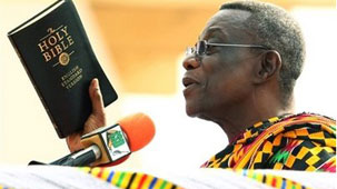 John Atta Mills is sworn in as Ghana's new President (ap photo)