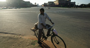 Man on bicycle in New Delhi
