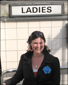 World Update's Robyn Bresnahan at a public toilet in London