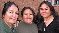 Pearl Sunrise with her grandson Arlan and her daugther Shawna Shandiin