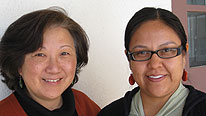 Inee Slaughter and Rachael Nez from the Indigenous Language Institute, Santa Fe