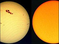 Imagem mostrando manchas solares