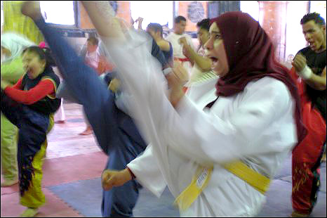 Karate practice in Cairo