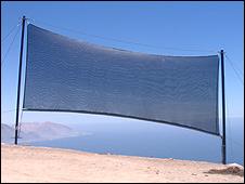 Atrapanieblas en Alto Patache, Chile (Foto: Dr. Horacio Larrain)