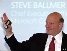 Microsoft CEO Steve Ballmer speaks during a forum on the future of computing in Cologne, western Germany, Friday, April 24, 2009