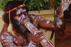 An Australian Aborigine playing didgeridu
