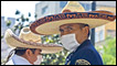 Mexican mounted police stand guard wearing surgery masks at Alameda Square in Mexico City on May 1, 2009