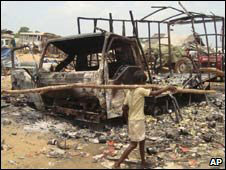 A destroyed truck in Sri Lanka's war zone