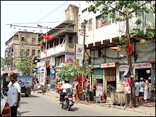The shabby, crammed buildings of the Sonagachi (Golden Tree) area of the city