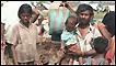Civiles escapando de la zona controlada por los Tigres Tamiles.