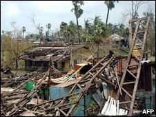 Imagen de daños que causó el Nargis.
