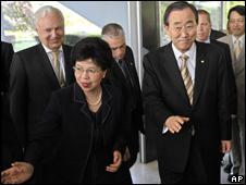 Margaret Chan, titular de la OMS, y Ban Ki-Moon, secretario general de la ONU