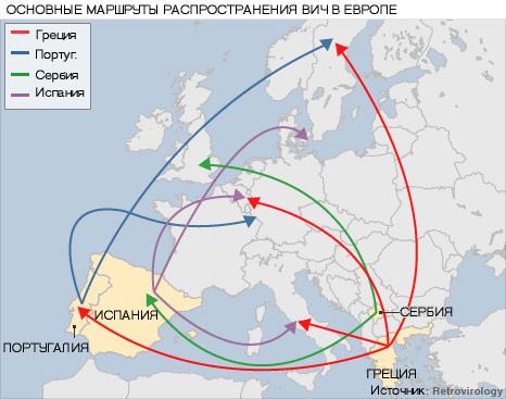 Составлена карта распространения ВИЧ по Европе.