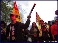 Manifestantes en Francia contra el desempleo.