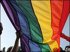 Bandera orgullo gay. Foto de archivo