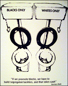 An anti-apartheid poster featuring segregated toilets