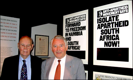 Veteran anti-apartheid campaigners, Bob Hughes and David Steel