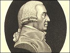 Dibujo con el perfil de Adam Smith, economista británico del siglo XVIII