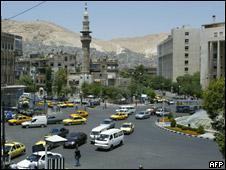 Céntrica plaza de Damasco, Siria.