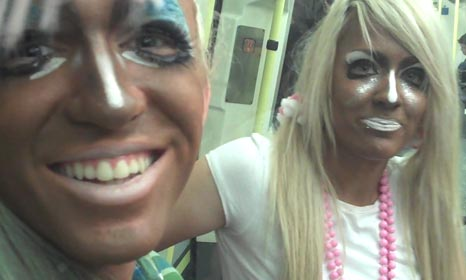 18-year-olds Eilish and Declan manba fans on a London tube train