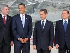 Stephen Harper, primer ministro de Canadá; Barack Obama, presidente de EE.UU.; Nicolás Sarkozy, presidente de Francia, y Silvio Berlusconi, primer ministro de Italia.