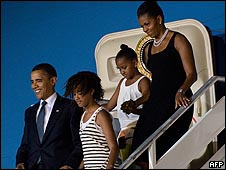 اوباما له خپلې کورنۍ سره