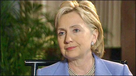 US Secretary of State, Hillary Clinton, speaking to the BBC's Kim Ghattas