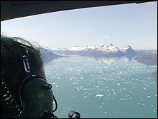 Vista del fiordo desde el aire