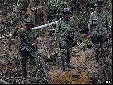 Ejército colombiano en operativo contra las FARC