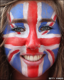 Girl with her union jack face paint