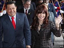 Los presidentes de Venezuela y Argentina.