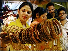 Indian women look at bangles
