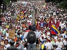 Marcha opositora en Caracas.