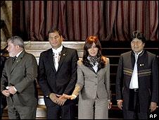 Lula, Correa, Fernández, Morales