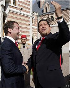 Hugo Chávez junto a Dimitri Medvedev
