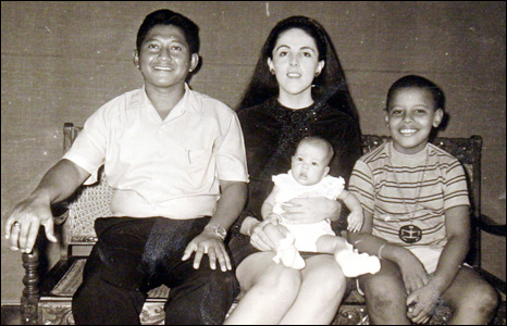 Barack Obama with his step-father Lolo Soetoro, his sister Maya Soetoro and his mother Ann Dunham