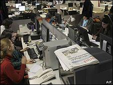 Sala de redacción del Clarín